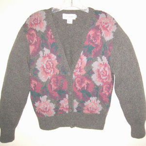 Lambswool cardigan M Brown V-neck Floral Wool Pink